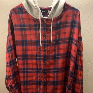 Urban BDG Red and Blue Flannel with Grey Hood